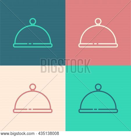 Pop Art Line Covered With A Tray Of Food Icon Isolated On Color Background. Tray And Lid. Restaurant