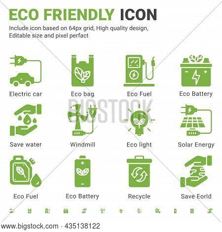 Eco Icon Set Design Flat Style Isolated On White Background. Vector Icon Environment, Ecology, Eco F