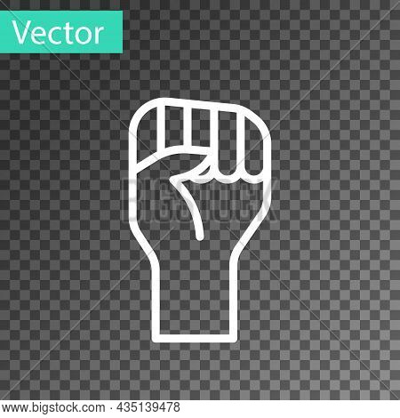 White Line Raised Hand With Clenched Fist Icon Isolated On Transparent Background. Protester Raised