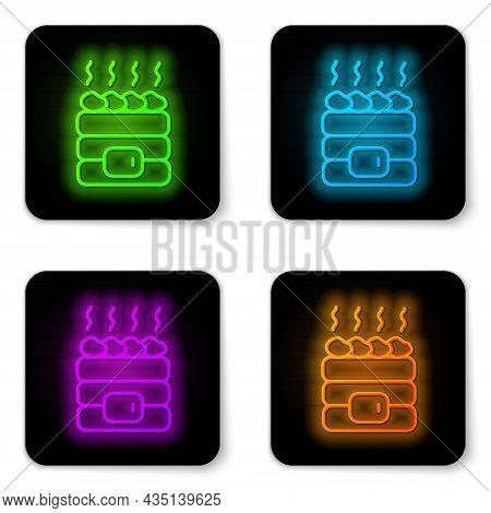 Glowing Neon Line Hot Sauna Stones Icon Isolated On White Background. Spa Resort Recreation, Bathhou