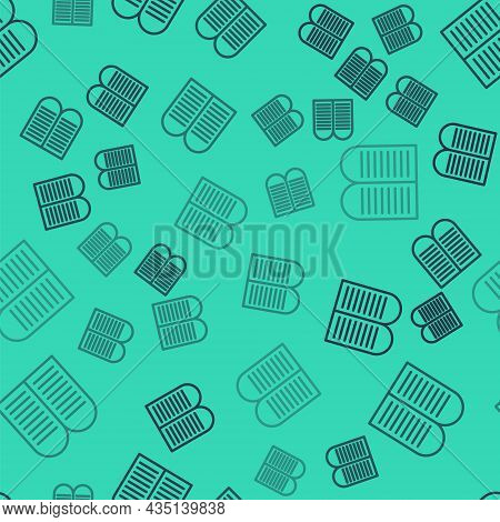 Black Line The Commandments Icon Isolated Seamless Pattern On Green Background. Gods Law Concept. Ve