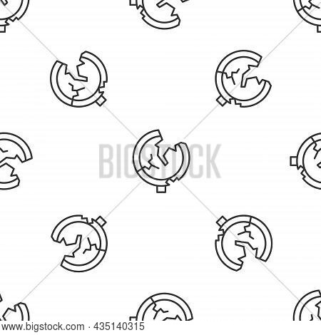 Grey Line Road Traffic Sign. Signpost Icon Isolated Seamless Pattern On White Background. Pointer Sy