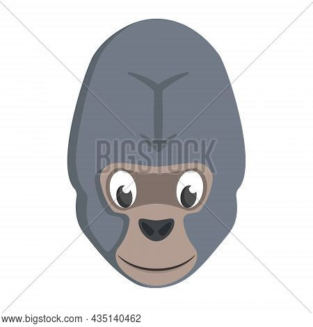 Gorilla Face Front View. Animal Head In Cartoon Style.