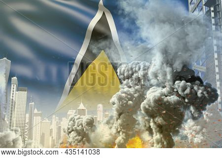 Large Smoke Column With Fire In Abstract City - Concept Of Industrial Explosion Or Terroristic Act O