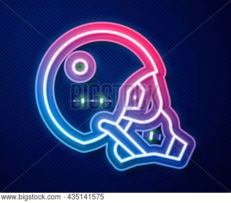 Glowing Neon Line Modern Pilot Helmet Icon Isolated On Blue Background. Vector