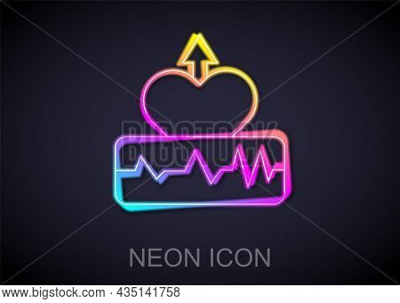 Glowing Neon Line Heartbeat Increase Icon Isolated On Black Background. Increased Heart Rate. Vector