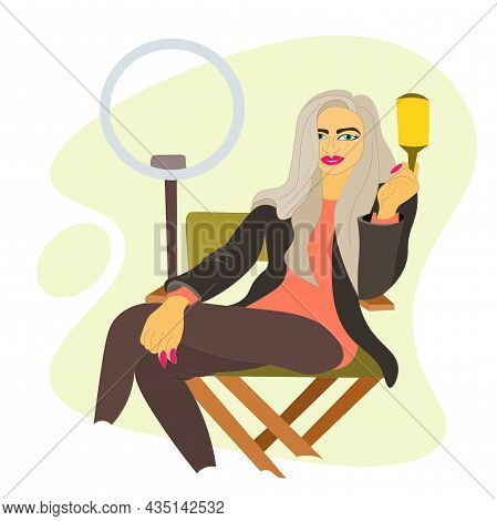 Woman Is Personal Stylist, Sitting In An Armchair With Comb In Her Hand And Selfie Lamp Next To Her.