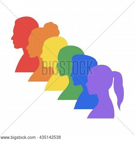 People's Faces In Lgbt Colors. Multi-colored Profiles Of Faces Of Men And Women Painted With Colors