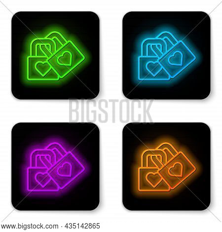 Glowing Neon Line Lock With Heart Icon Isolated On White Background. Locked Heart. Love Symbol And K
