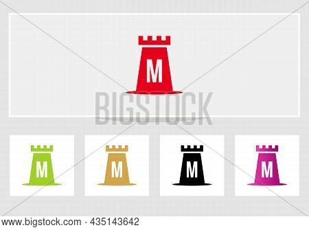 Castle Logo On Letter M. Castle King Logo Design Initial M Letter Concept Vector Template