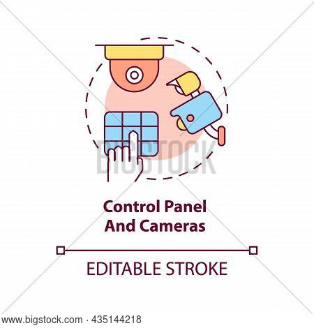Control Panel And Cameras Concept Icon. House Safeguard Abstract Idea Thin Line Illustration. Home P