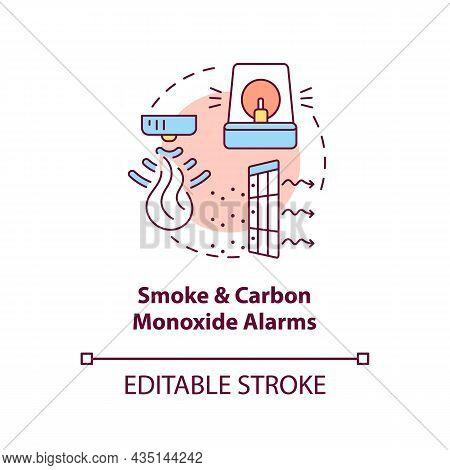 Smoke And Carbon Monoxide Alarms Concept Icon. Combination Alarm Abstract Idea Thin Line Illustratio
