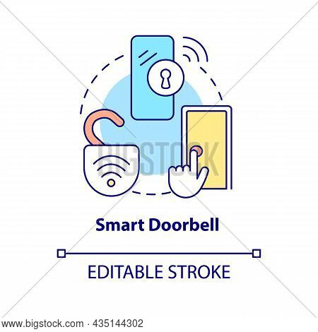Smart Doorbell Concept Icon. Digital Video And Ring Tool Abstract Idea Thin Line Illustration. Smart