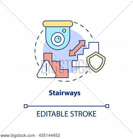 Stairways Concept Icon. Smart House Security Abstract Idea Thin Line Illustration. Place Camera Abov