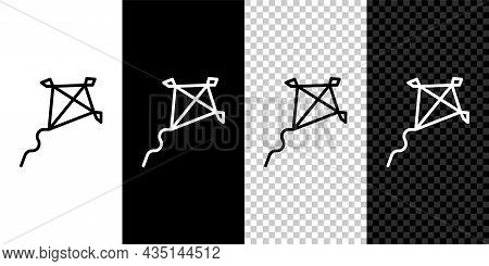 Set Line Kite Icon Isolated On Black And White, Transparent Background. Vector