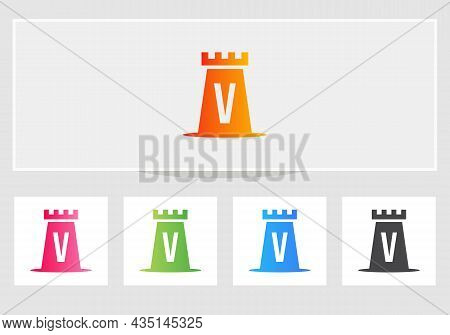 Castle Logo On Letter V. Castle King Logo Design Initial V Letter Concept Vector Template