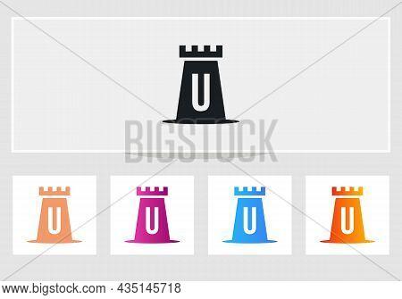 Castle Logo On Letter U. Castle King Logo Design Initial U Letter Concept Vector Template