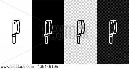 Set Line Meat Chopper Icon Isolated On Black And White, Transparent Background. Kitchen Knife For Me