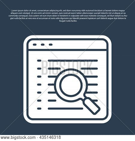 Blue Line Search Engine Icon Isolated On Blue Background. Vector