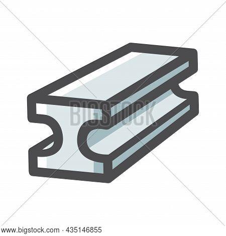 Steel Bar Metal Rolled Rail Vector Icon Cartoon Illustration.