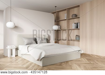 Light Bedroom Interior With Bed And Pillows, Parquet Floor And Coffee Tables With Lamps. Mockup Copy