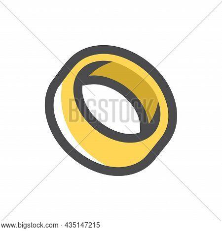 Gold Wedding Ring Vector Icon Cartoon Illustration