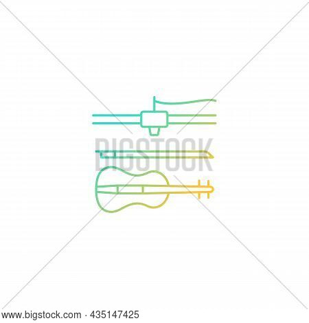 3d Printed Musical Instruments Gradient Linear Vector Icon. Printing Acoustic Violin. Additive Manuf