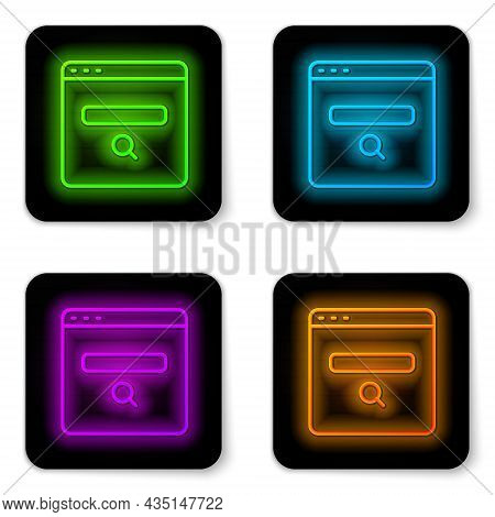 Glowing Neon Line Search Engine Icon Isolated On White Background. Black Square Button. Vector