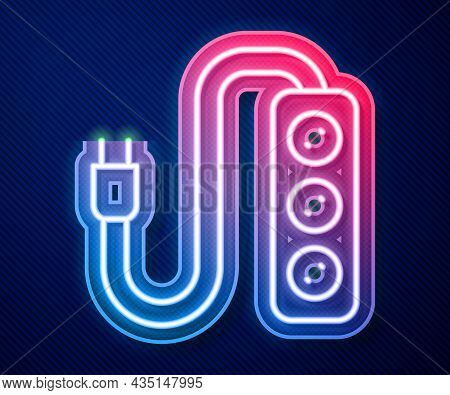 Glowing Neon Line Electric Extension Cord Icon Isolated On Blue Background. Power Plug Socket. Vecto