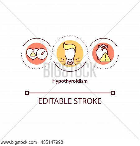 Hypothyroidism Concept Icon. Elevated Blood Pressure Cause Abstract Idea Thin Line Illustration. Und