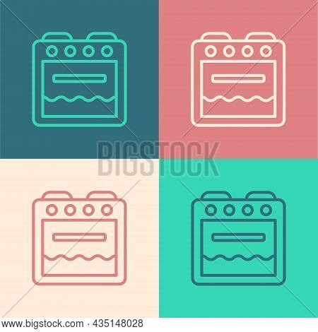 Pop Art Line Oven Icon Isolated On Color Background. Stove Gas Oven Sign. Vector