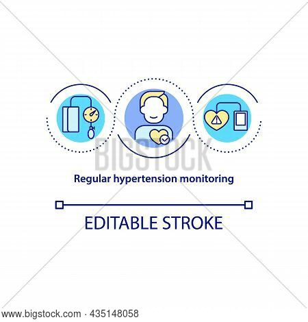 Regular Hypertension Monitoring Concept Icon. Blood Pressure Measurement Abstract Idea Thin Line Ill
