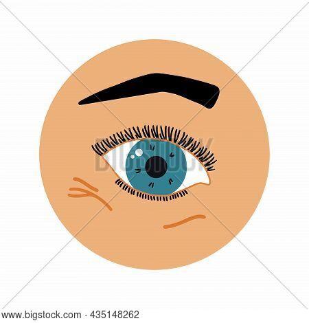 Wrinkles Under Eye. Eye With Eyelashes And Eyebrows. Skin Aging.