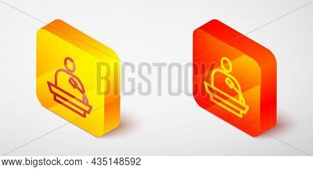 Isometric Line Gives Lecture Icon Isolated On Grey Background. Stand Near Podium. Speak Into Microph