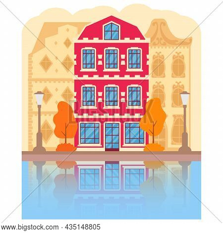Autumn View Of The City Of Amsterdam Traditional Building. Dutch Cityscape Canal.