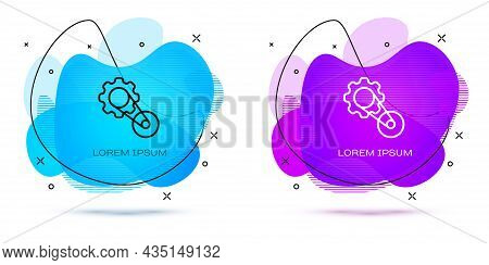 Line Timing Belt Kit Icon Isolated On White Background. Abstract Banner With Liquid Shapes. Vector