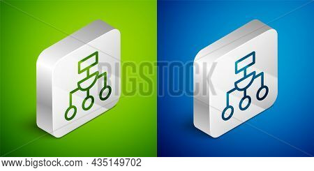 Isometric Line Algorithm Icon Isolated On Green And Blue Background. Algorithm Symbol Design From Ar
