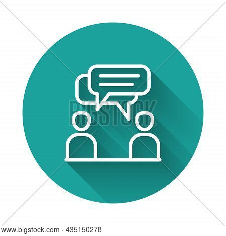 White Line Two Sitting Men Talking Icon Isolated With Long Shadow Background. Speech Bubble Chat. Me
