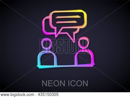 Glowing Neon Line Two Sitting Men Talking Icon Isolated On Black Background. Speech Bubble Chat. Mes