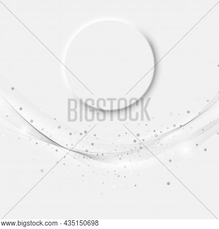 Abstract Modern Transparent Gray Certificate Design With Check Mark Speed Lines. Gray Wave Flow