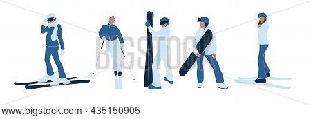 Set Of Faceless Abstract Women In Ski And Snowboard. Winter Holiday Activities. Collection Female In