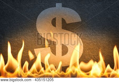 Us Dollar Currency Symbol Sign Burning In Fire Flames, As Symbol Of American Economy Crisis, Decline