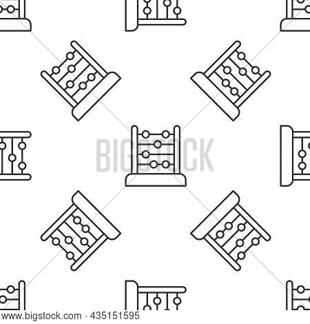 Grey Line Abacus Icon Isolated Seamless Pattern On White Background. Traditional Counting Frame. Edu
