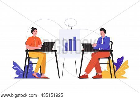 People Working At Office Together. Man And Woman Works At Workplaces Scene Isolated. Successful Team
