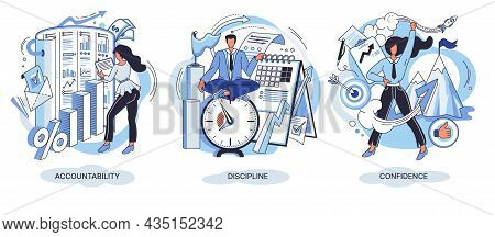 Personal Quality Concept Creative Metaphors Set. Confidence, Accountability And Discipline, Mental S
