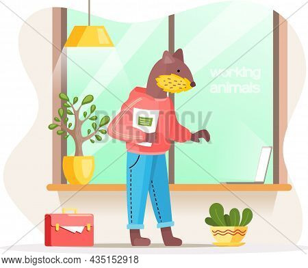 Working Animals Cute Cartoon Character Works At Home With Laptop, Performs Work And Tasks. Little Be