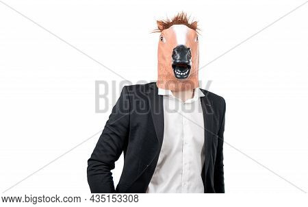 Professional Man Wear Horse Head And Business Suit Isolated On White, Workhorse