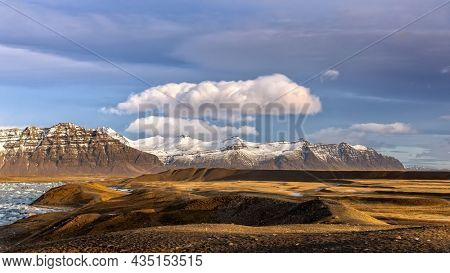The snow covered mountains and tundra around the Jokulsarlon glacial lagoon, Vatnajokull National Park in Southeast Iceland