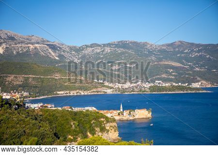 View Of Budva Old Town Buildings And Coastline From Mogren Fortress, Montenegro