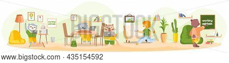 Working Animals Cute Cartoon Character Works At Home With Laptop, Performs Work And Tasks. Animal Fr